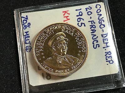 1965 Congo Democratic Republic 20 Francs Gold Km#3 70% Melted Proof