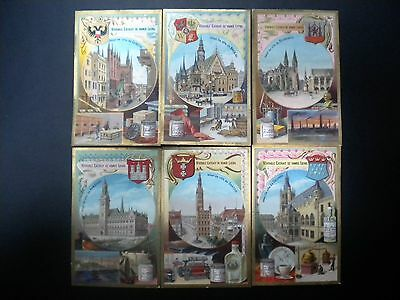 Set Of 6 Liebig Trade Cards With Buildings & Coats Of Arms, 1887