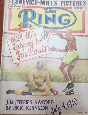 """""""The Ring""""October,1949,U.S.Issue, Freddie Mills takes Title from Gus Lesvenitch"""