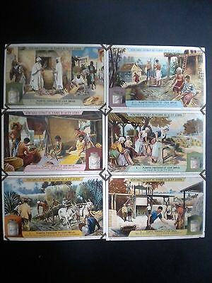"""Set Of 6 Liebig Trade Cards Showing Operations At Various Countries, 1880""""s"""