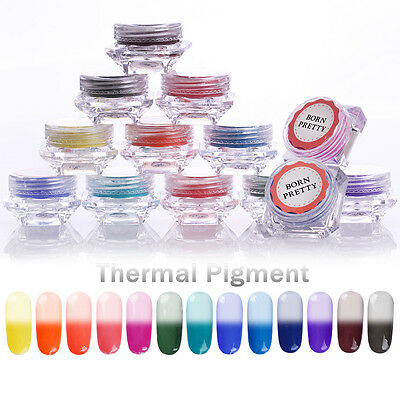 Nail Thermal Color Changing Powder Pigment Dust UV Gel Gradient Tips BORN PRETTY