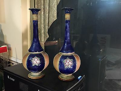 pair antique Royal Doulton stoneware tall neck vases 8332  EB
