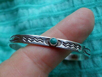 1952 Bracelet for Baby or Small Child - Tooled Sterling Silver With Turquoise