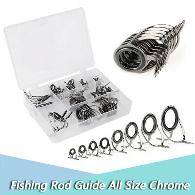 75Pcs Durable Stainless Steel Fishing Rod Pole Guide Double Leg Rings Eyes BT
