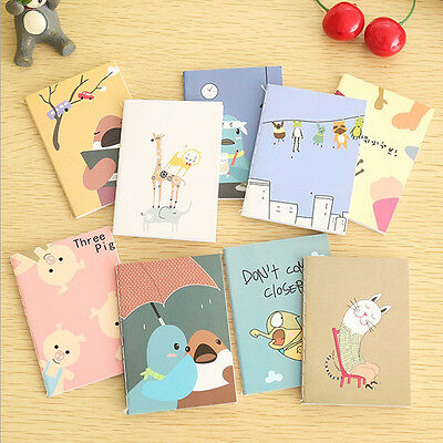 Cute 2PC Mini Cartoon Notebook Handy Pocket Notepad Paper Journal Diary Portable