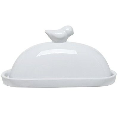 MyGift® White Bird Design Decorative Ceramic Butter Dish and Lid Cover