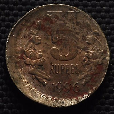 INDIA 1996 Rs.5 COIN WITH DIE SHIFT, OFF CENTER ERROR CALCUTTA MINT