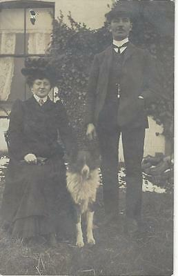 Edwardian Couple & Collie Dog In The Garden  Old Photo Postcard