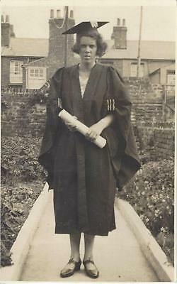 Graduate - Lady Wearing Cap & Gown Old Photo Postcard