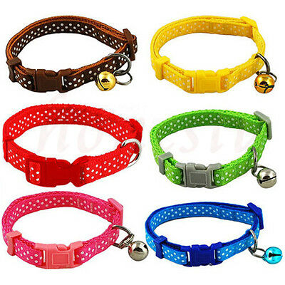 Pet Dog Puppy Cat Kitten Soft Glossy Reflective Collar Safety Buckle with Bell