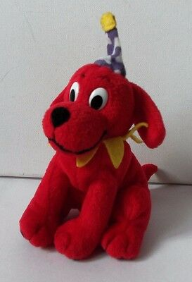 Scholastic Clifford The Big Red Dog Plush Soft Toy Animal Figure Birthday Hat On