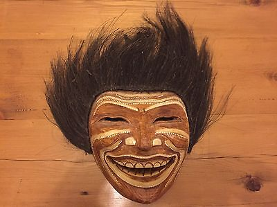 Unusual Wooden Hand Carved Mask African Congo Tribal Ethnic Style