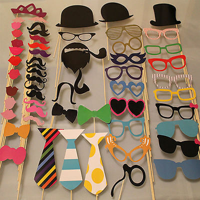 58PCS Masks Photo Booth Props Mustache On A Stick Birthday Wedding Party DIY HH