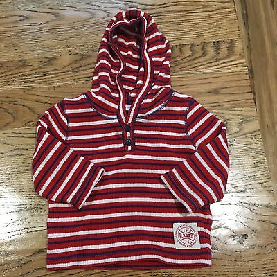 Country Road Baby Boy Stripe Ribbed Cotton Hoodie Jumper Size 0 (6-12 Months)