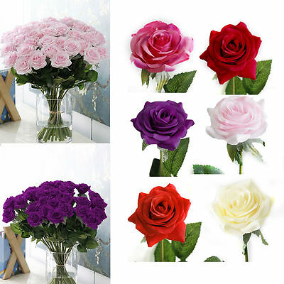 6 Artificial Fake Velvet Rose Silk Flowers Leaf Bouquet Wedding Party Home Decor