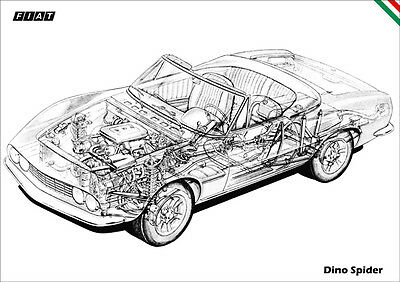 Fiat Dino Spider Detailed Cutaway Retro A3 Poster Print Classic Fiat Dino