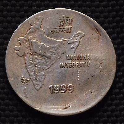 INDIA 1999 Rs.2 COIN WITH DIE SHIFT OFF CENTER ERROR CALCUTTA MINT