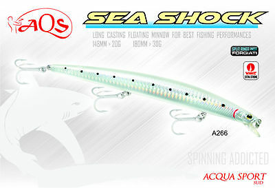 Artificiale da Spinning  AQS SEA SHOCK 180 mm - 30 grammi -  Long Casting Minnow