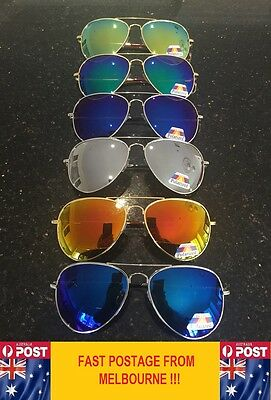 Air Force Aviator Sunglasses  POLARISED Mirror LENS Spring Hinge Free Post AU