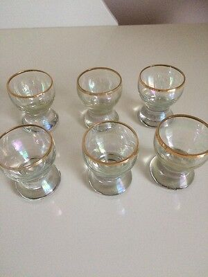 Set Of 6 Vintage 1960's Sherry/port Glasses With Gold Trim
