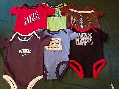 HUGE Lot Of 6 NIKE Onesies Bodysuits Size 0-3 and 3-6 Months