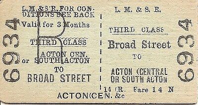 L.M.S.R. Edmondson Ticket - Broad Street to Acton Central or South Acton
