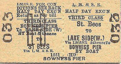 L.M.S.R. Edmondson Ticket - St. Bees to Lakeside and thence to Bowness Pier