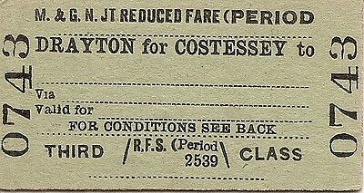 M.& G.N. Jt. Comm. Edmondson Ticket - Drayton for Costessey to _________
