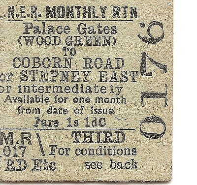 L.N.E.R. Edmondson Ticket - Palace Gates (Wood Gn) to Coburn Rd. or Stepney West