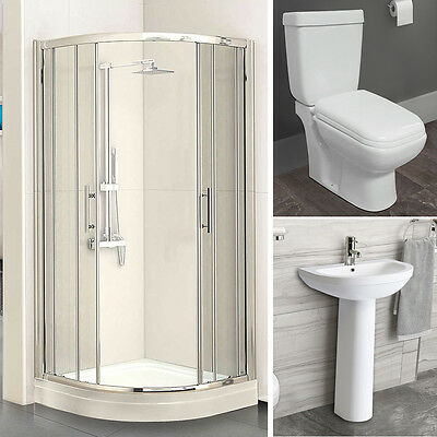 Bathroom Suites Complete Shower Enclosure Close Coupled Toilet & Pedestal Sink