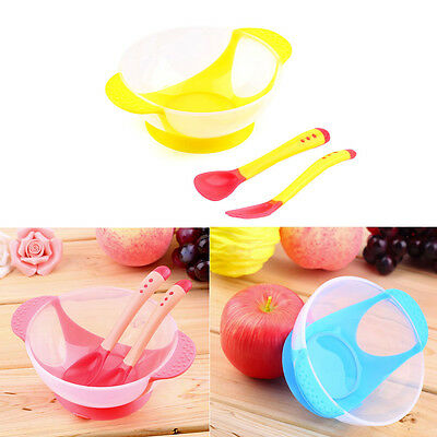 Infants Baby Kids Feeding Lid Training Bowl with Spoon Fork Plate Sucker Bowl