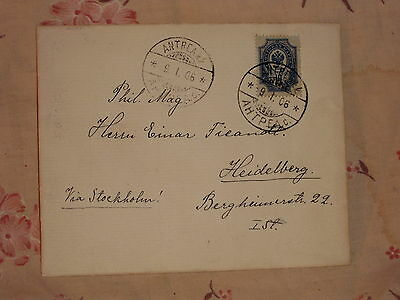 FINLAND 9.1.1906 NICE RARE 10 kop(Stamp Russia) COVER from ANTREA to GERMANY