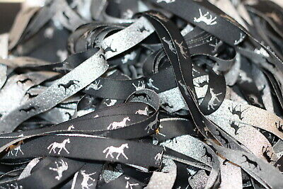 HORSE RIBBON 5 yd Metallic black & silver 16mm Horse Rugs boots sewing
