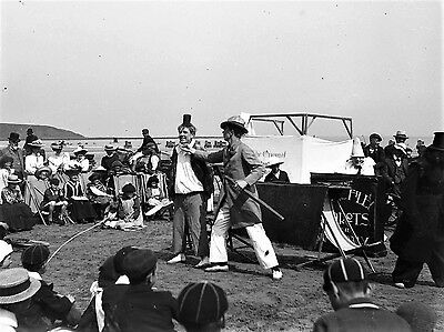 PHOTOGRAPHIC GLASS NEGATIVE CLOWNS! FILEY BEACH ENTERTAINERS YORKSHIRE c1895