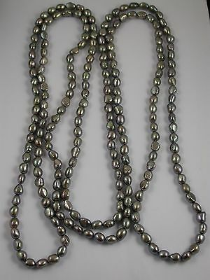 VINTAGE X LONG BLACK PEARL BEAD NECKLACE 72 inch