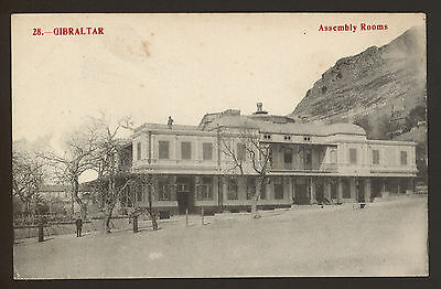 Gibraltar. Assembly Rooms & A Policeman Just Visible! - Vintage Printed Postcard