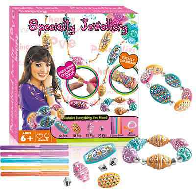 Girls DIY Colouring Beads Jewellery Craft Kit Bday Xmas Gift Educational Toy