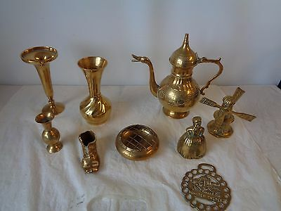 Mainly Brass ???? Items x9 Metalware Shoe Vase Coffee Pot Windmill Horse