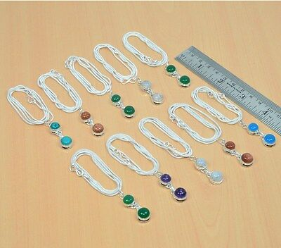 Wholesale 10Pc 925 Silver Plated Turquoise & Mix Stone Nice Pendant & Chain Lot