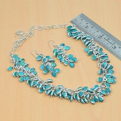 Wholesale 2Pc 925 Silver Plated Turquoise Classic Long Earring-Necklace Lot