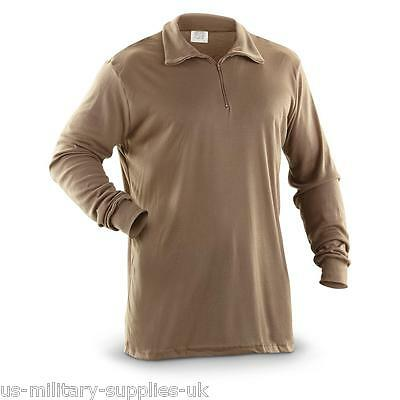 New Genuine Us Ecwcs Polypro Cold Weather Thermal Undershirt/shirt. Xl. Brown.