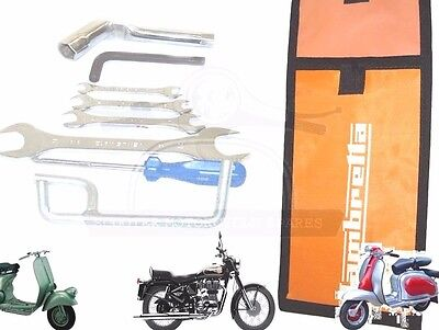Lambretta Hand Tool Kit 7 Piece & Orange Woven Pouch Jack, Spanners Etc. @uk