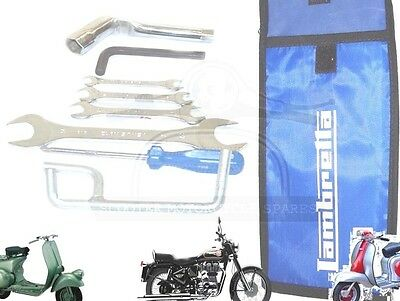 Lambretta Handy Tool Kit 7 Piece & Blue Woven Pouch Jack, Spanners Etc. @uk