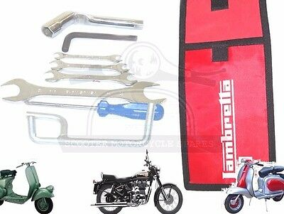 Lambretta Hand Tool Kit 7 Piece & Red Woven Pouch Jack, Spanners Etc. @uk