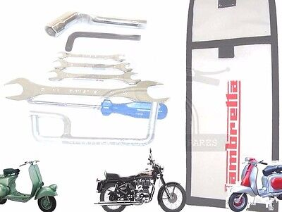 Lambretta Hand Tool Kit 7 Piece & White Woven Pouch Jack, Spanners Set Etc. @uk