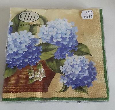 10 packs of 20 Lunch Paper Napkins.Blue Hydrangea in a Basket. 33x33cm. 3ply