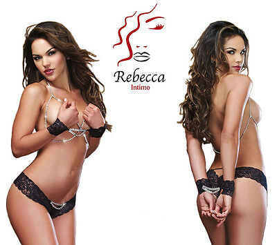 Donna Sexy Hot Lingerie Intimo Merletto Strass Baby Doll Catena Manette G String
