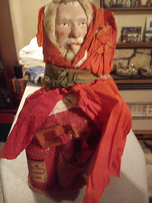 Vintage Paper Mache Father Christmas Stocking Full Of Old Toys From The 1930/40