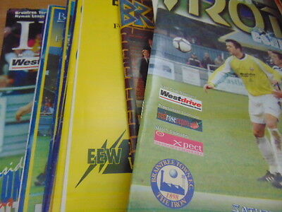 Bundle 20 Braintree Town FC Home Programmes Listed 1970s-2000s