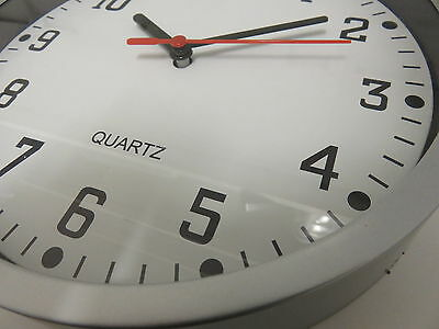 "Large SILVER WALL CLOCK 9"" glass fronted Battery QUARTZ NEW KITCHEN LIVING ROOM"